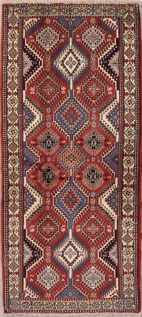 Red Geometric Yalameh Persian Runner Rug 3x6
