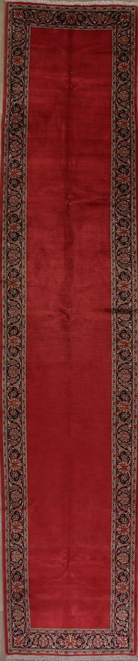 Antique Red Kashan Persian Runner Rug 4x17