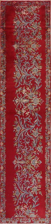 Red Floral Kerman Persian Runner Rug 3x14