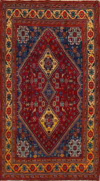 Red Tribal Geometric Abadeh Nafar Persian Area Rug 5x9