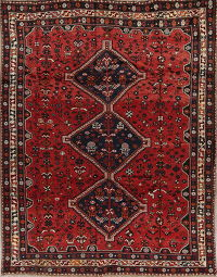 Red Tribal Geometric Ghashghaei Persian Area Rug 7x9