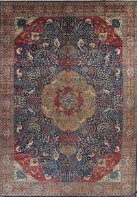 Blue Antique Floral Khoy Persian Area Rug 13x18