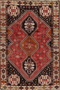 Red Tribal Geometric Abadeh Persian Area Rug 6x9