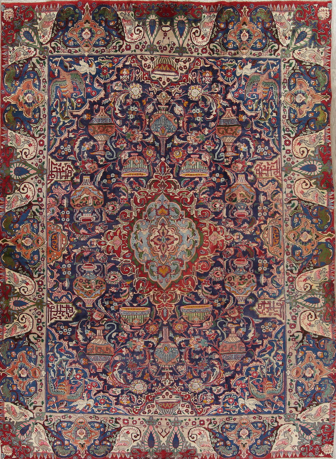 Pictorial Floral Navy Blue Kashmar Persian Hand-Knotted Area Rug Wool 9x13