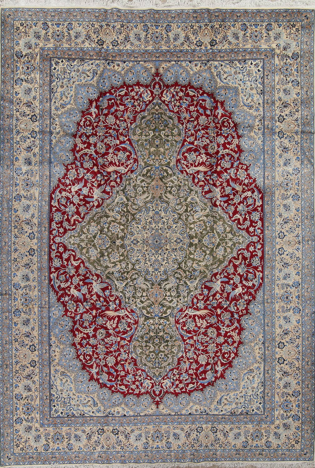Red Antique Floral Nain Persian Area Rug 10X14