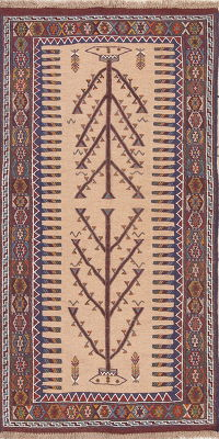 Tribal Geometric Kilim Shiraz Persian Hand-Woven 3x6 Wool Rug