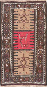 Tribal Fuchsia Beige Kilim Shiraz Persian 3x6 Wool Rug