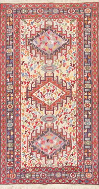 Animal Pictorial Tribal Geometric Kilim Shiraz Persian Hand-woven Area Rug 4x7