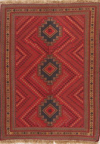 Red Geometric Kilim Shiraz Persian Area Rug 4x6