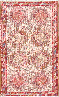 Ivory Tribal Geometric Kilim Shiraz Persian Area Rug 4x7