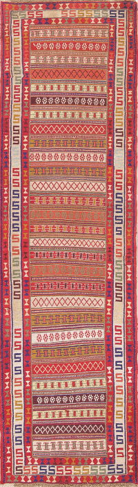 Hand-Woven Geometric Tribal Kilim Shiraz Persian Runner Rug 3x9