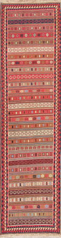 Hand-Woven Geometric Tribal Kilim Shiraz Persian Runner Rug 2x9