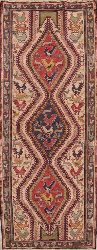 Animal Pictorial Kilim Shiraz Kashkoli Persian Runner Rug 4x9