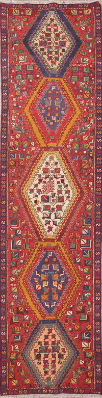 Hand-Woven Tribal Geometric Kilim Shiraz Persian Runner Rug 3x12