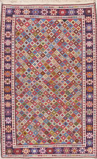 All-Over Geometric Kilim Shiraz Persian Area Rug 4x6