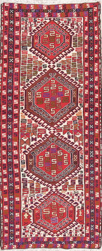 Flat-Woven Geometric Kilim Shiraz Persian Runner Wool Rug 3x6