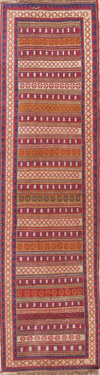 Hand-Woven Geometric Kilim Shiraz Persian Runner Wool Rug 3x9