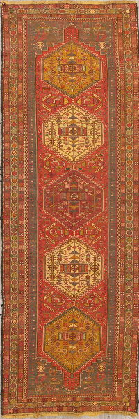 Hand-Woven Geometric Kilim Shiraz Persian Runner Rug Wool 4x10