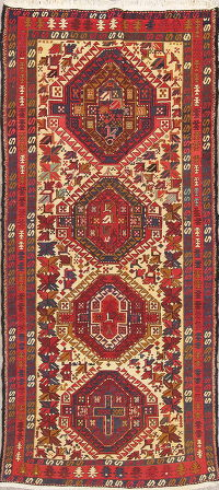 Hand-Woven Geometric Kilim Shiraz Persian Runner Rug Wool 4x9