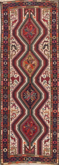 Hand-Woven Tribal Geometric Kilim Shiraz Persian Runner Rug Wool 4x10