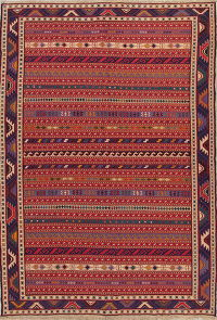 Hand-Woven Red Geometric Kilim Qashqai Persian Area Rug Wool 7x9