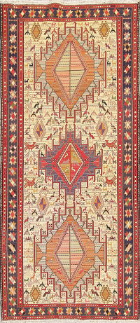 Hand-Woven Tribal Kilim Shiraz Persian Runner Rug Wool 4x9