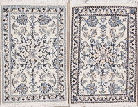 Pack of 2 Hand-Knotted Ivory Floral Nain Persian Rug Wool 2x3