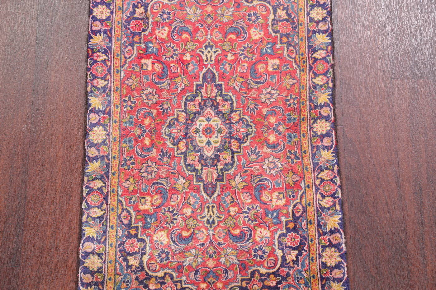 Hand-Knotted Red Traditional Floral Kashan Persian Wool Rug 2x4