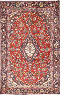 Hand-Knotted Red Floral Kashan Persian Wool Rug 3x5