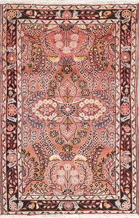 Hand-Knotted Pink Floral Lilian Hamedan Persian Wool Rug 3x5