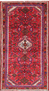 Hand-Knotted Red Geometric Hamedan Persian Wool Rug 3x5