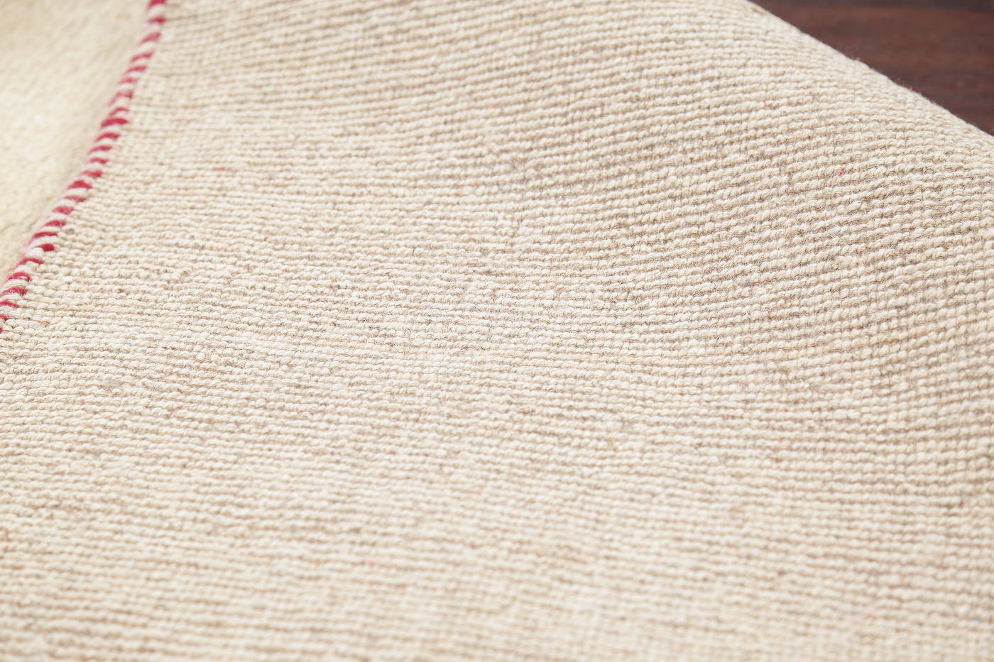 Hand-Knotted Solid Ivory Gabbeh Shiraz Persian Runner Rug 3x6 image 13