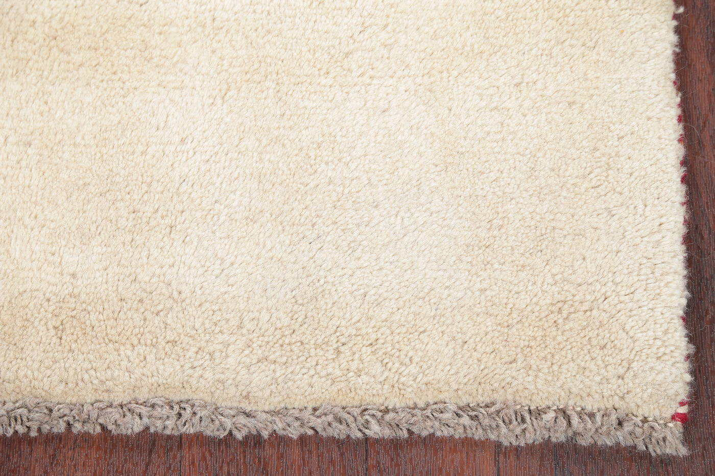 Hand-Knotted Solid Ivory Gabbeh Shiraz Persian Runner Rug 3x6 image 6