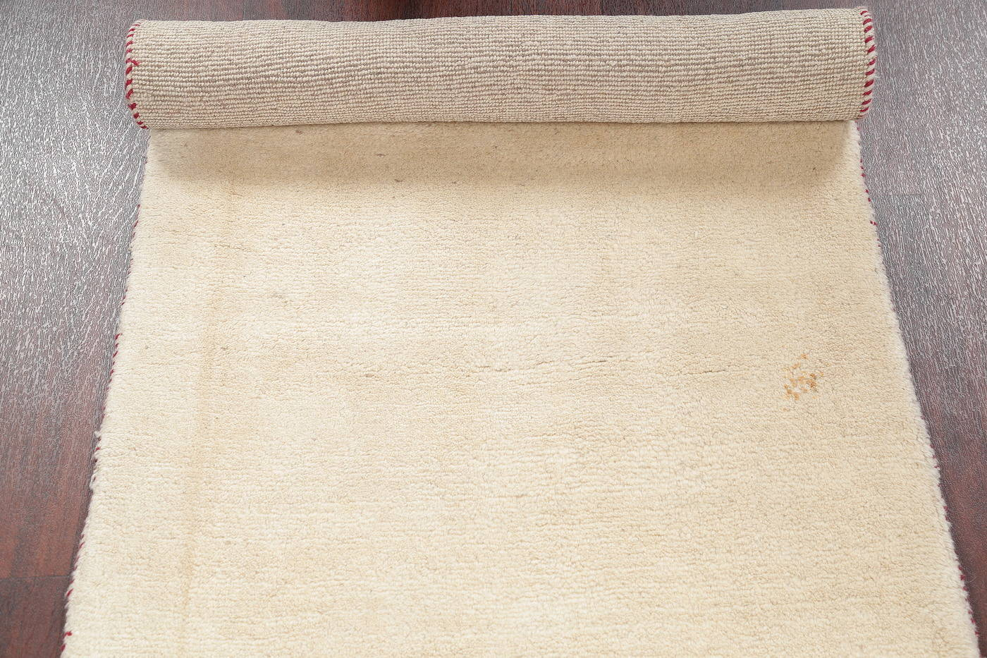 Hand-Knotted Solid Ivory Gabbeh Shiraz Persian Runner Rug 3x6 image 9