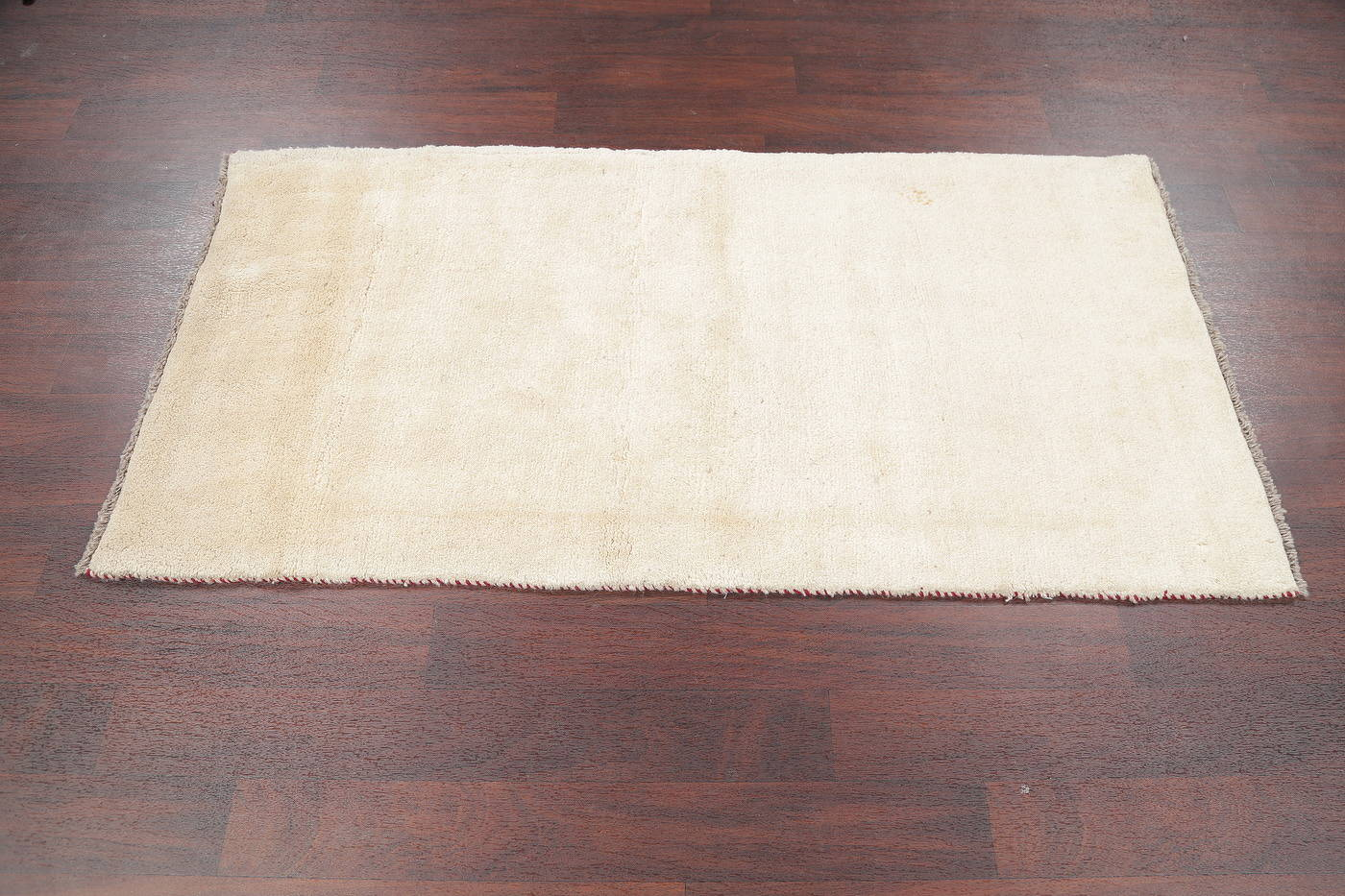 Hand-Knotted Solid Ivory Gabbeh Shiraz Persian Runner Rug 3x6 image 7