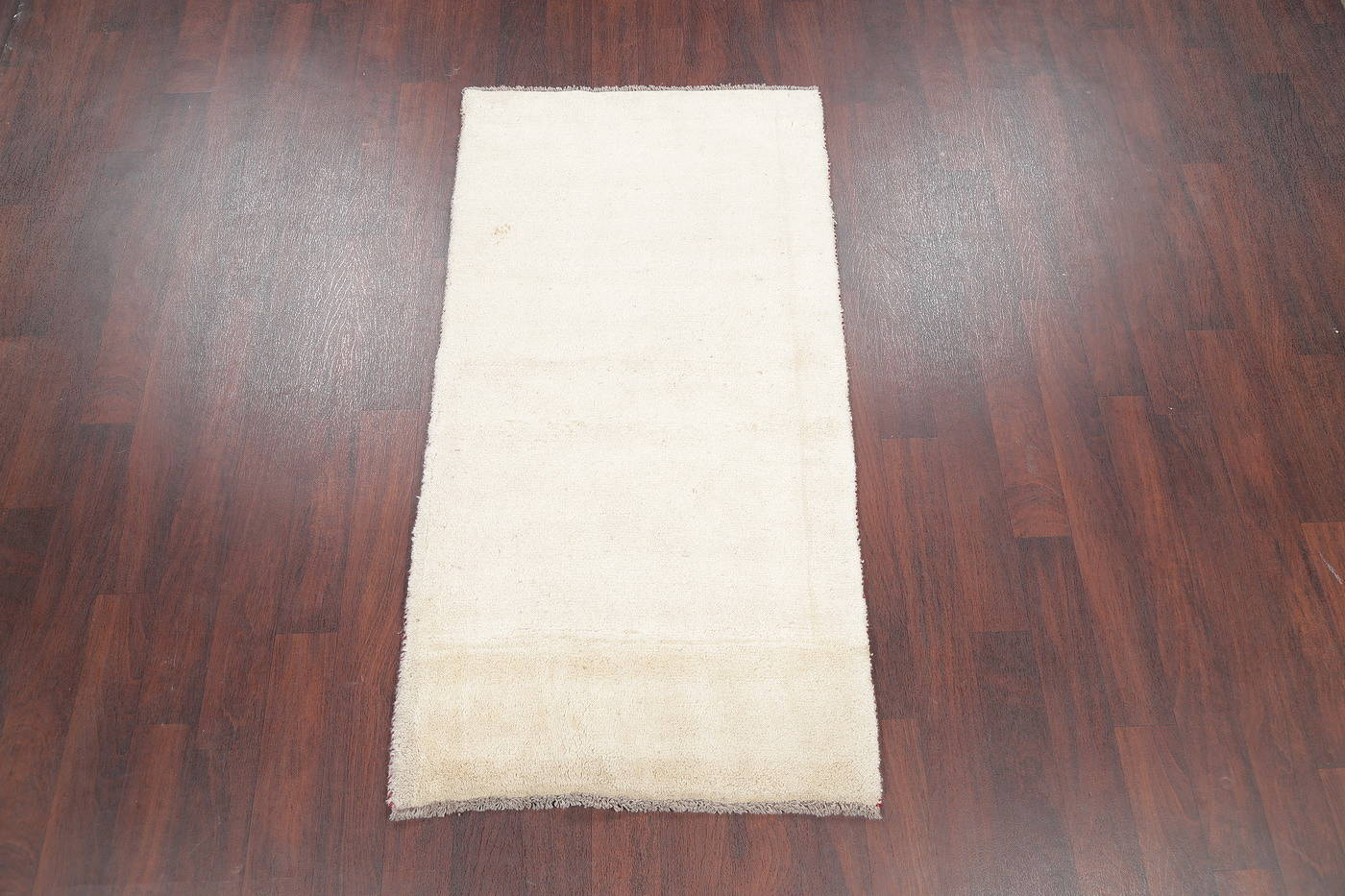 Hand-Knotted Solid Ivory Gabbeh Shiraz Persian Runner Rug 3x6 image 2