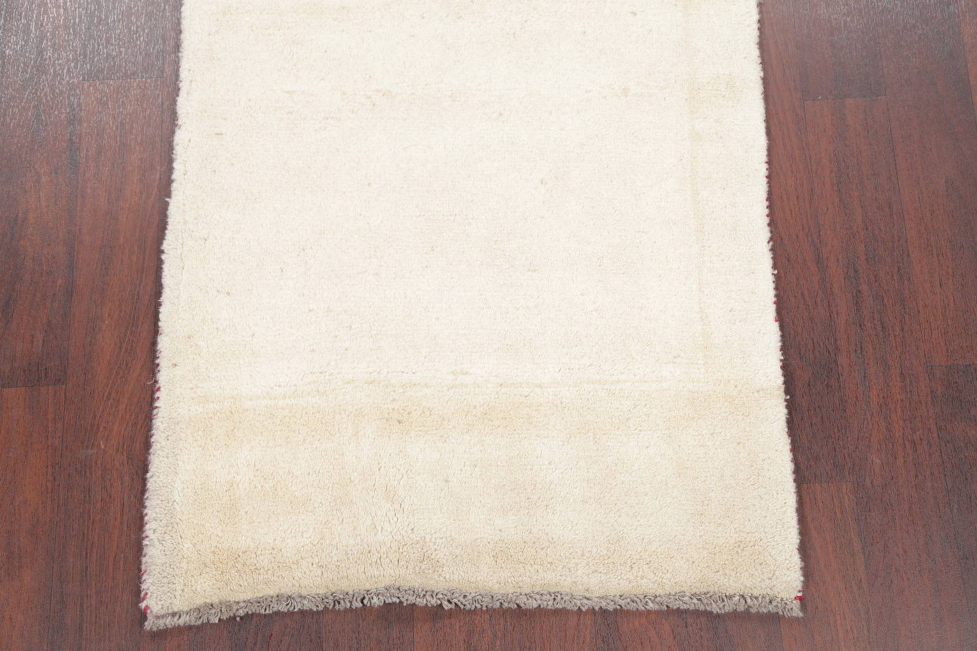 Hand-Knotted Solid Ivory Gabbeh Shiraz Persian Runner Rug 3x6 image 5