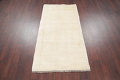 Hand-Knotted Solid Ivory Gabbeh Shiraz Persian Runner Rug 3x6 image 8