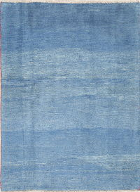 Hand-Knotted Blue Solid Gabbeh Shiraz Persian Area Wool Rug 4x6