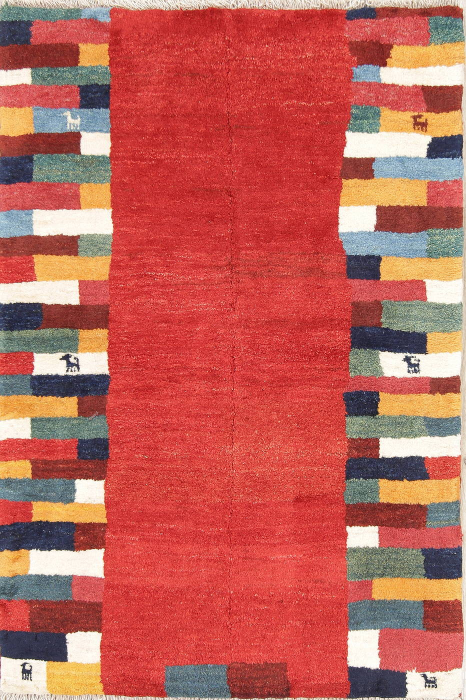 Hand-Knotted Red Contemporary Gabbeh Shiraz Persian Wool Rug 3x5