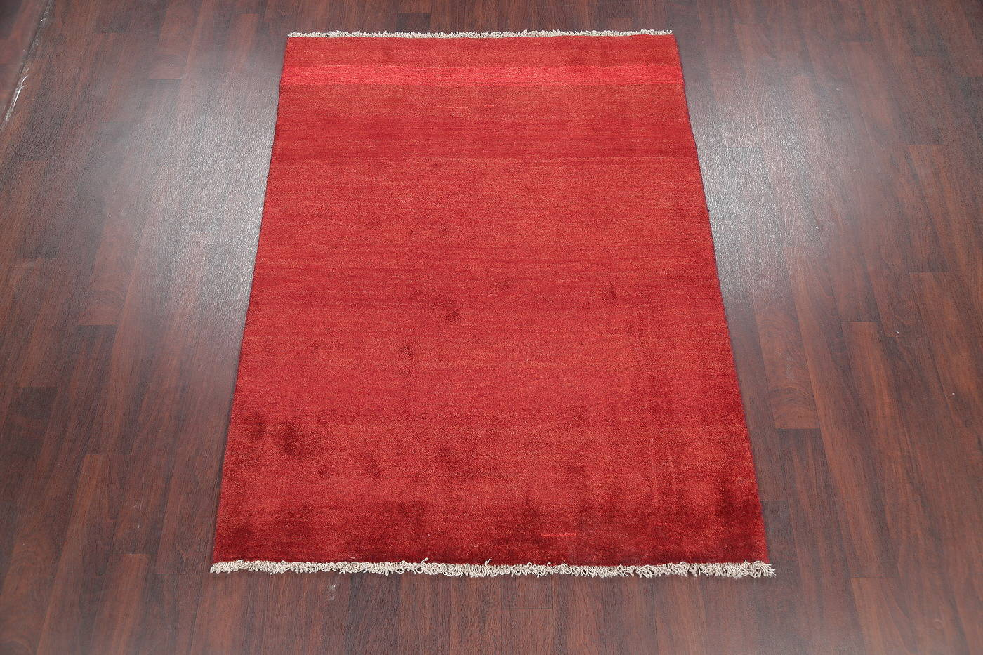 Hand-Knotted Red Solid Gabbeh Persian Area Wool Rug 5x6