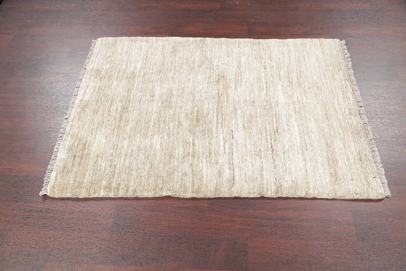 Hand-Knotted Ivory Contemporary Gabbeh Shiraz Persian Wool Rug 3x5