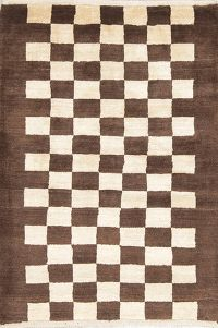 Hand-Knotted Checkered Gabbeh Shiraz Persian Modern Area Rug 4x5