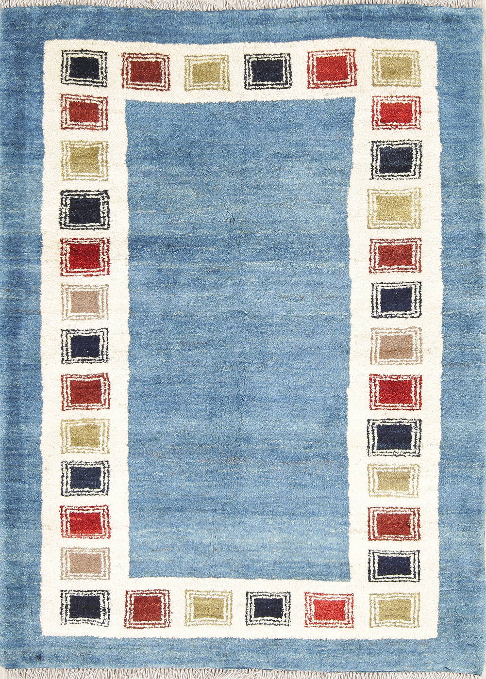 Hand-Knotted Blue Contemporary Gabbeh Shiraz Persian Area Wool Rug 4x5