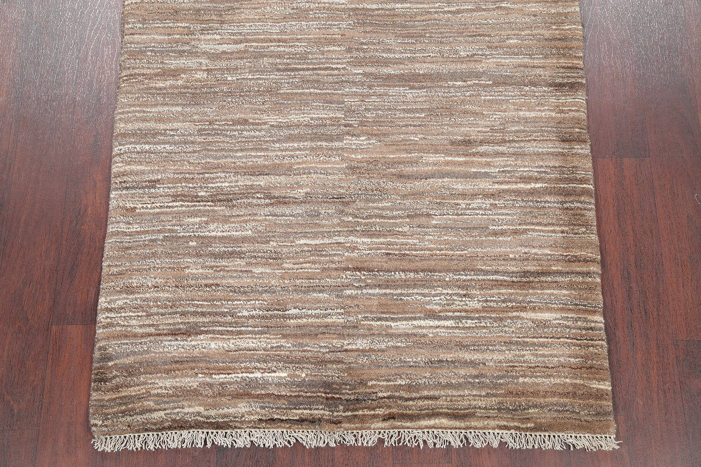 Hand-Knotted Brown Contemporary Gabbeh Shiraz Persian Area Wool Rug 4x5