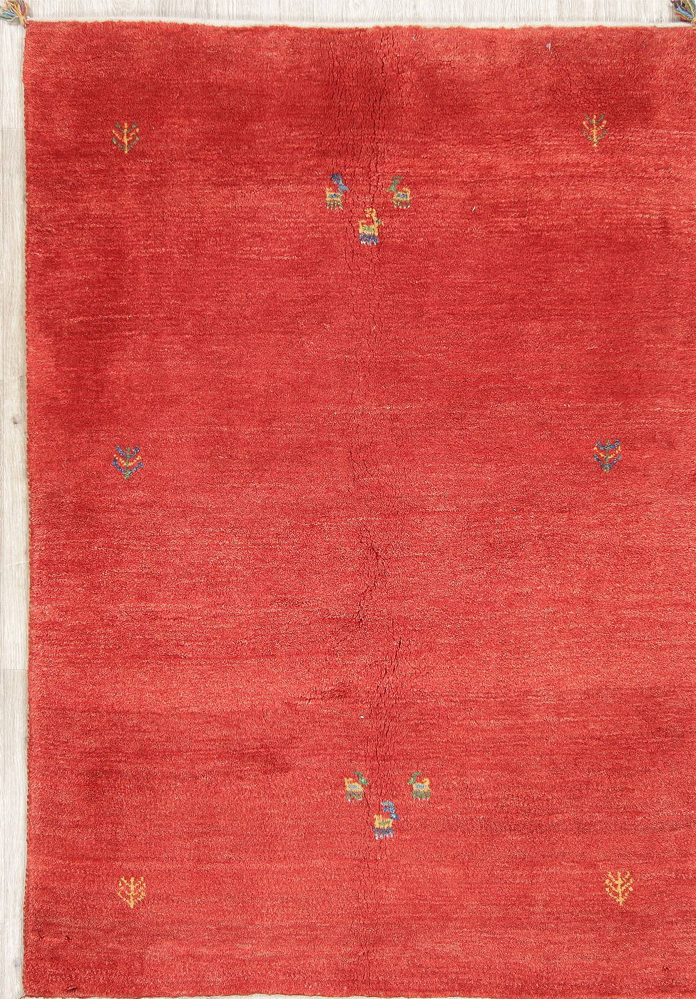 Hand-Knotted Red Gabbeh Shiraz Persian Area Wool Rug 4x6