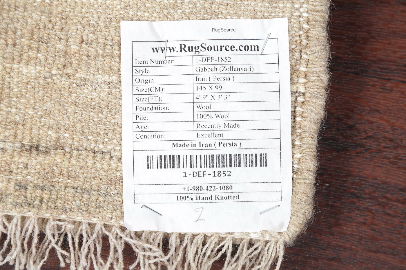 Hand-Knotted Beige Contemporary Gabbeh Zollanvari Persian Rug Wool 3x5 image 15