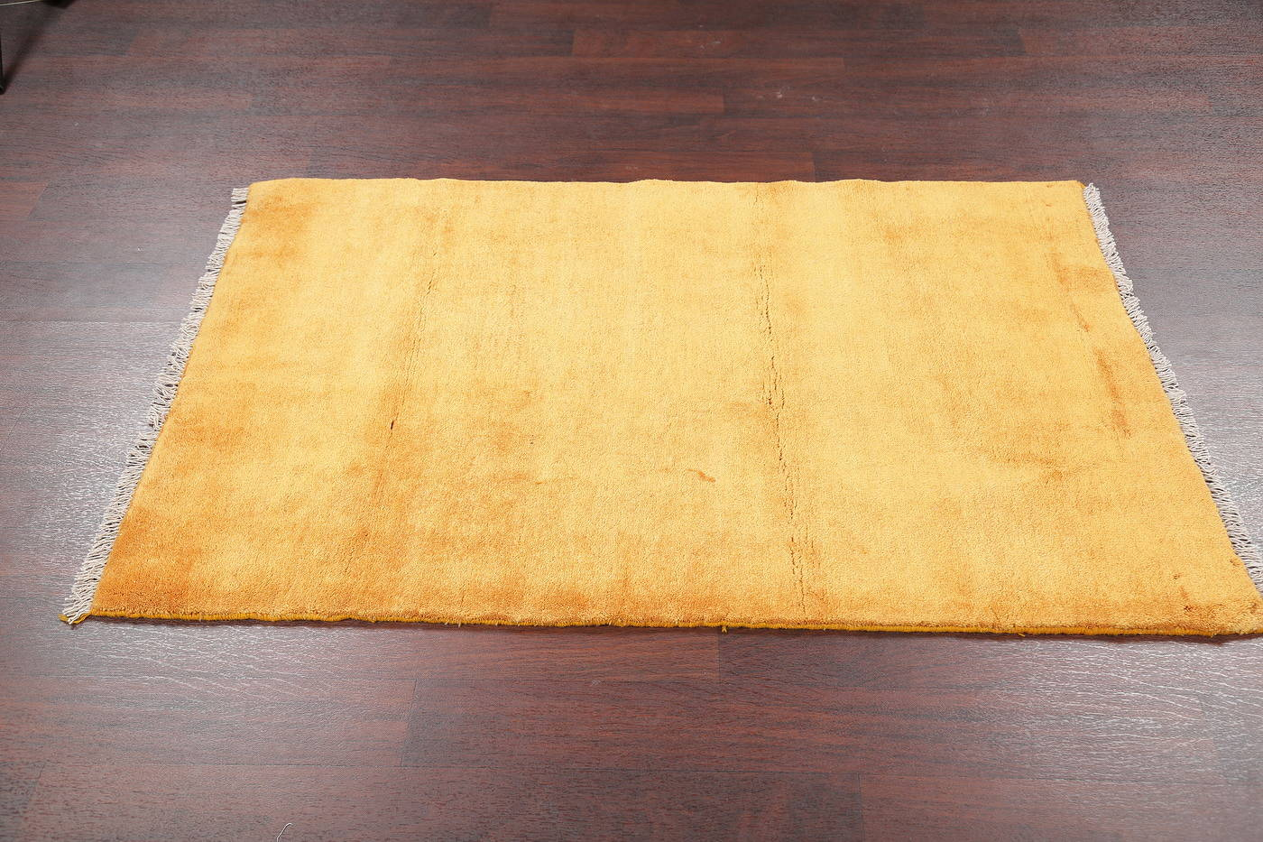 Gold Contemporary Gabbeh Zollanvari Persian Hand-Knotted Wool Rug 3x5