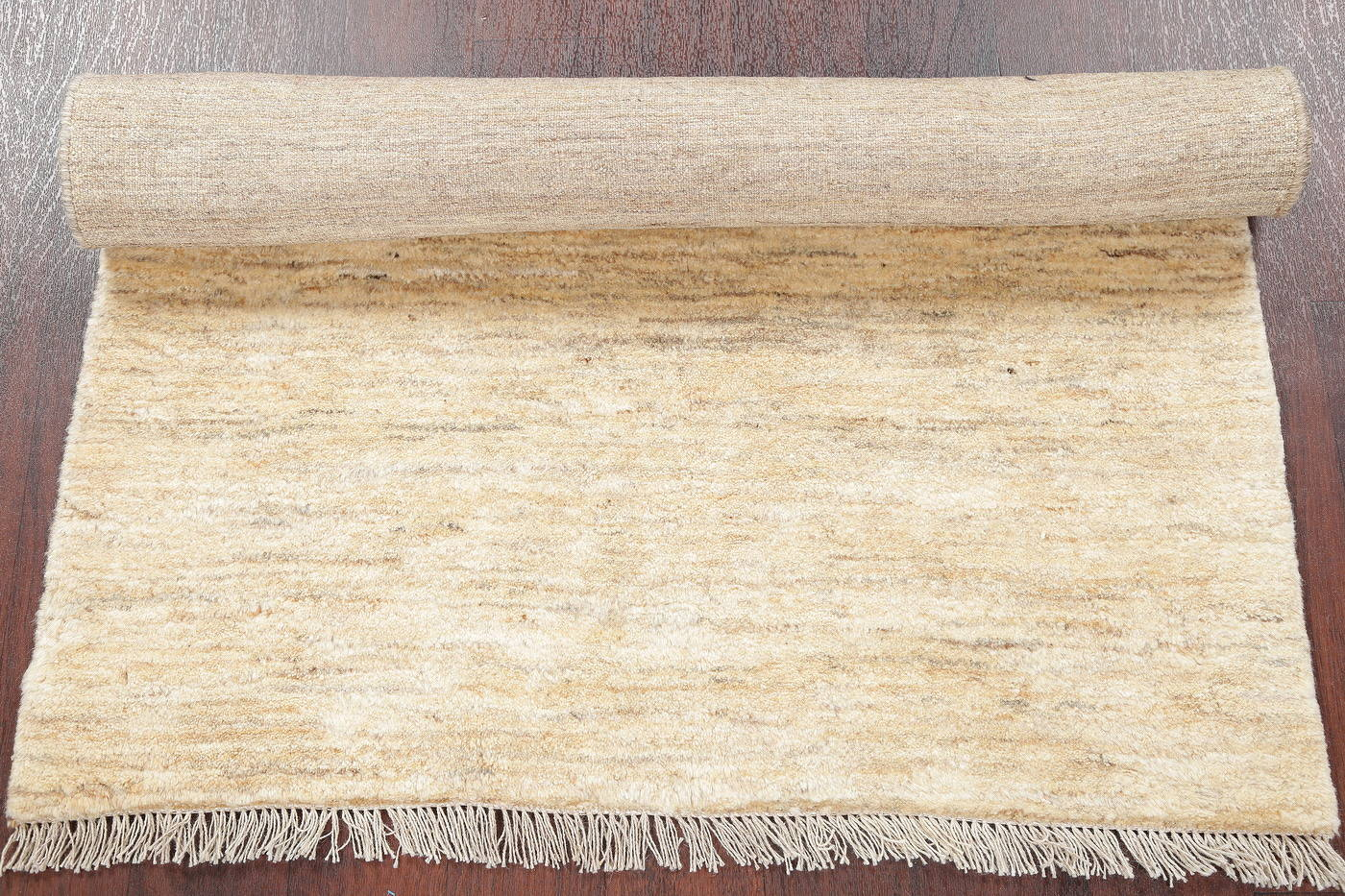 Hand-Knotted Ivory Contemporary Gabbeh Shiraz Persian Rug Wool 3x5