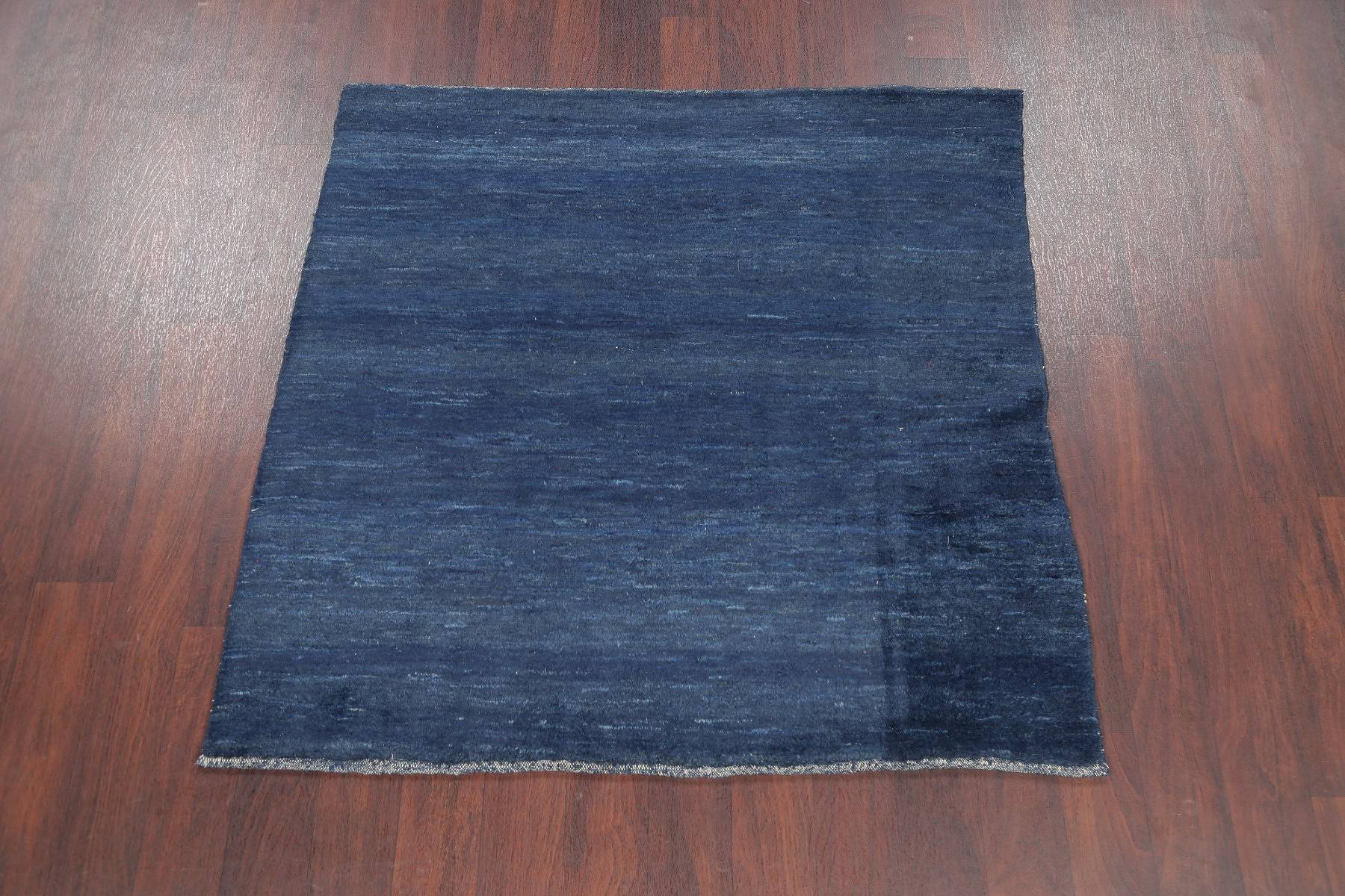 Hand-Knotted Blue Solid Gabbeh Zollanvari Persian Area Rug Square Wool 5x5